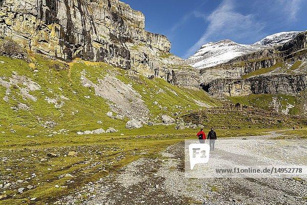 Walking by Ordesa National Park. in Pyrenees Huesca. Aragon. Spain. Europe.