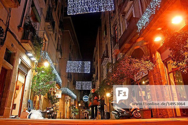 Street scene with christmas lights. El Born district  Barcelona  Catalonia  Spain