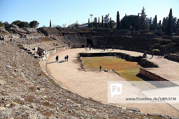 Mérida (Spain). Stages of the Roman Amphitheater of Mérida. Badajoz Province. Extremadura. Spain.