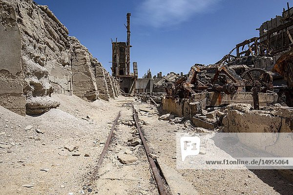 Railway in industrial area of abandoned Mining Town of Elizabeth Bay - near Luderitz  Namibia  Africa.