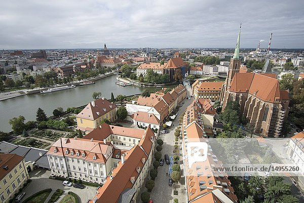 Wroclaw aerial view from the top of the cathedral Poland.