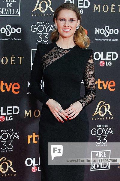 Manuela Belles attends the Spanish Cinema awards Goya 33rd edition at FIBE attends 33rd Goya Cinema Awards 2019 at Palacio de Congresos y Exposiciones FIBES on February 3  2019 in Sevilla  Spain.02/02/2019.