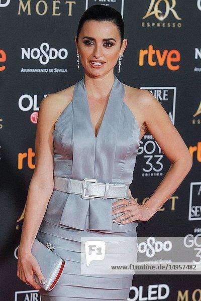Penelope Cruz attends the Spanish Cinema awards Goya 33rd edition at FIBE attends 33rd Goya Cinema Awards 2019 at Palacio de Congresos y Exposiciones FIBES on February 3  2019 in Sevilla  Spain.02/02/2019.