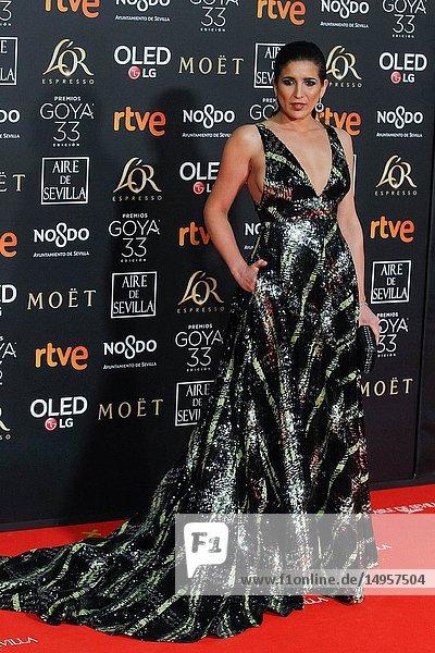 Lucia Jimenez attends the Spanish Cinema awards Goya 33rd edition at FIBE attends 33rd Goya Cinema Awards 2019 at Palacio de Congresos y Exposiciones FIBES on February 3  2019 in Sevilla  Spain.02/02/2019.