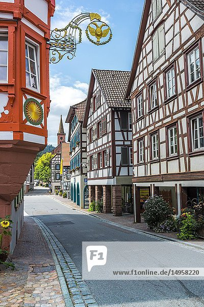 Street with half-timbered houses  Black Forest  Germany  town Schiltach in the Kinzig valley.