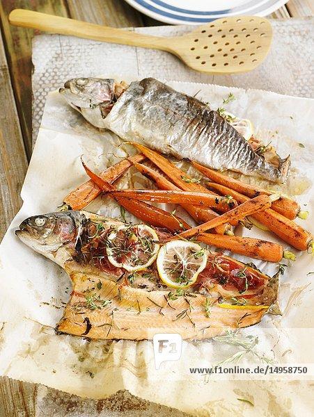 Trucha con vino blanco y zanahorias / trout with white wine and carrots