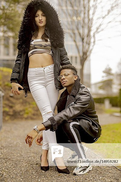 Couple in city  youth  in Munich  Germany