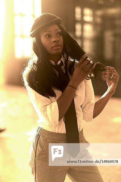 Stylish business woman  retro look  African Angolan descent