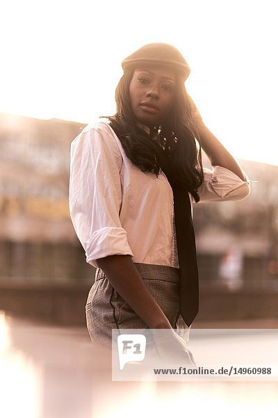 Stylish woman  African Angolan descent  in Munich  Germany.