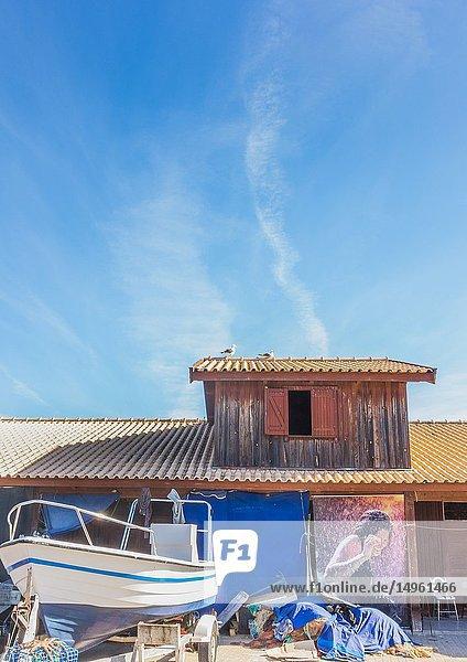 Fishing boat and fishermen's hut  alvor  algarve  portugal.
