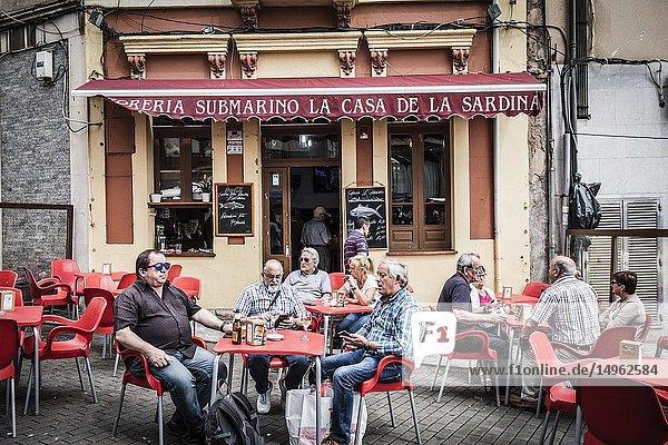 Outdoor terrace at Candas restaurant  Asturias  Spain.