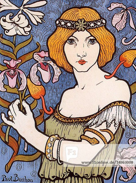 Woman holds a Flower.
