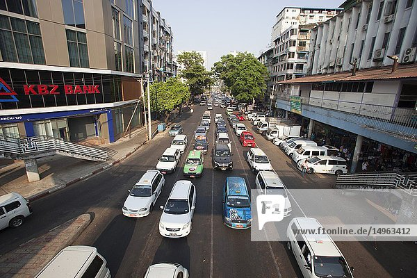 Traffic on the Anawrahta Road  city center  Yangon  Myanmar  Asia.