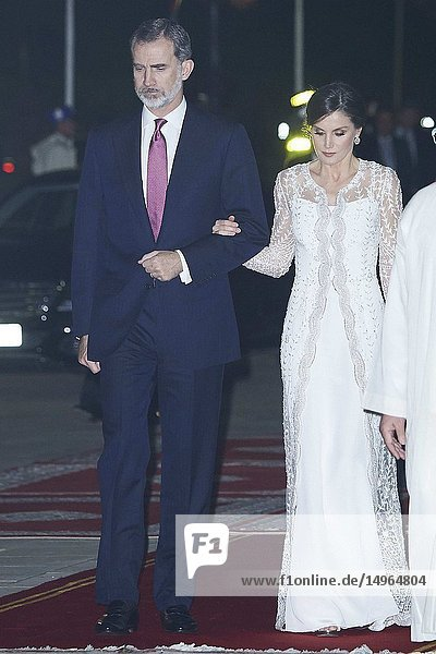King Felipe VI of Spain  Queen Letizia of Spain attends a Gala Dinner at Royal Palace on February 13  2019 in Rabat  Morocco..The Spanish Royals are on a two day visit to Morocco