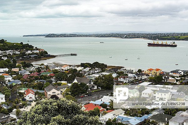 A view from Takarunga/Mount Victoria  Devonport  Auckland  New Zealand  with a ship leaving the harbour in Auckland.