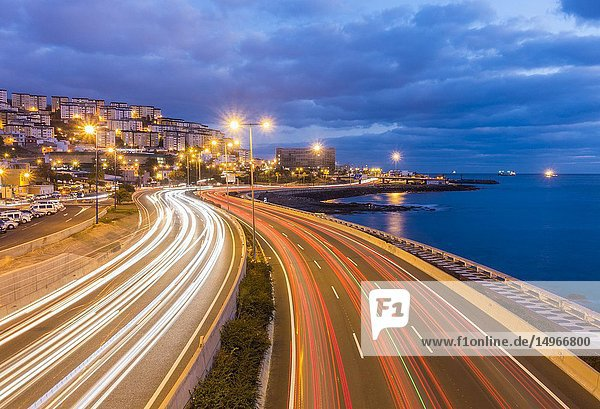 Las Palmas  Gran Canaria  Canary Islands  Spain. Morning rush hour traffic entering Las Palmas on Avenida Maritima.