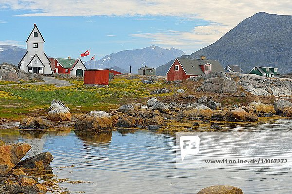 Nanortaliq  town and church (Greenland)