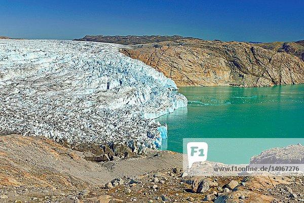 Fiord and glacier  near Qaleragdlit  also called Fletanes (Greenland)