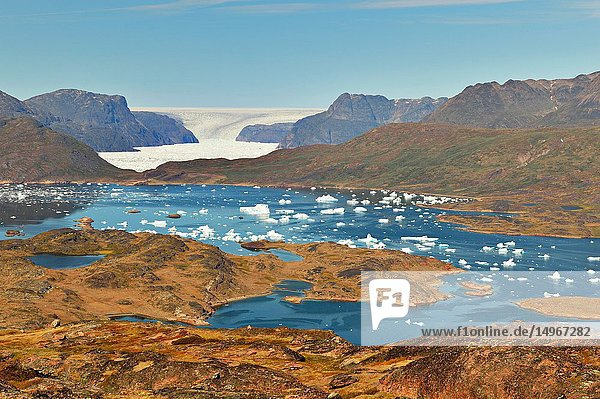 Fjord  iceberg and glacier in southern Greenland