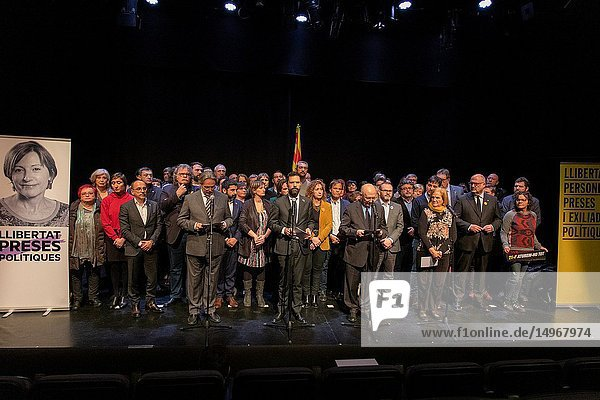 The president of the Parlament  Roger Torrent  and the ex-presidents of the Catalan Chamber Joan Rigol  Ernest Benach and Núria de Gispert participate in the act of support for Carme Forcadell in Madrid  on the occasion of his imminent declaration in the 1-O trial