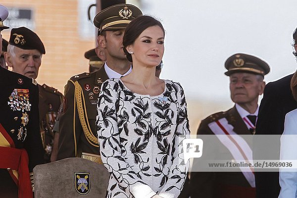 Queen Letizia attends the Delivery of the National Flag to the 'Napoles' Infantry Regiment 4 at the Paracuellos del Jarama headquarters in Madrid  Spain on the 23rd of February of 2019..23/02/2019.