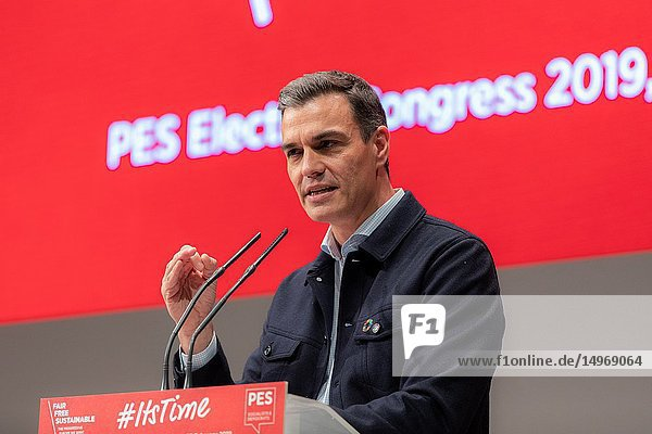 Pedro Sanchez  Prime Ministre Spain seen speaking during the Election Congress of the European Socialist Party (PES) in Madrid