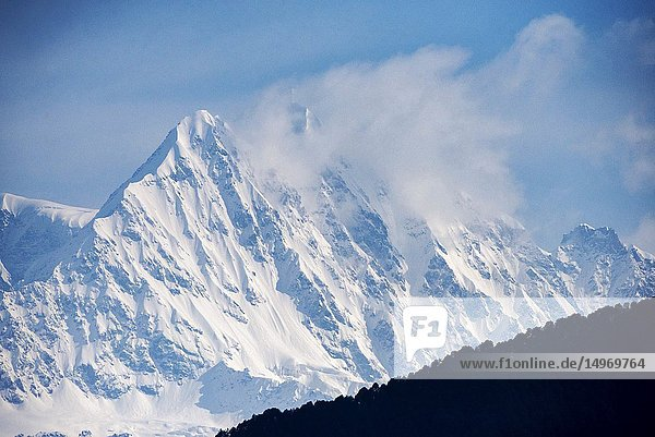 Himalayan peaks seen from Devriya Taaal  Garhwal  Uttarakhand  India.