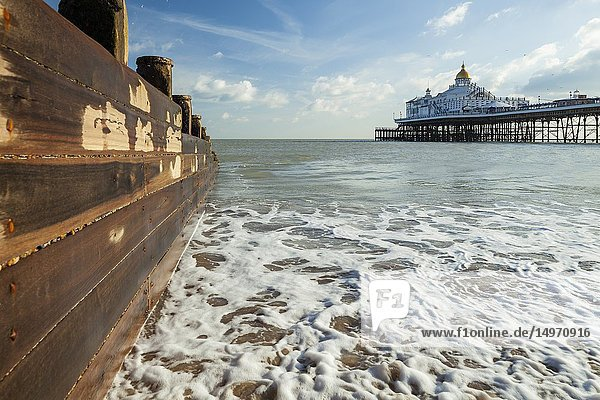 Winter afternoon on the Sussex coast  Eastbourne Pier in the distance  England.
