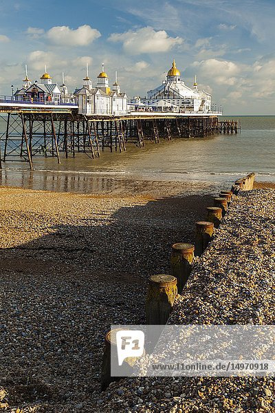 Winter afternoon on Eastbourne Pier  East Sussex  England.