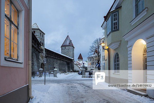 Winter dawn in Tallinn old town,  Estonia.