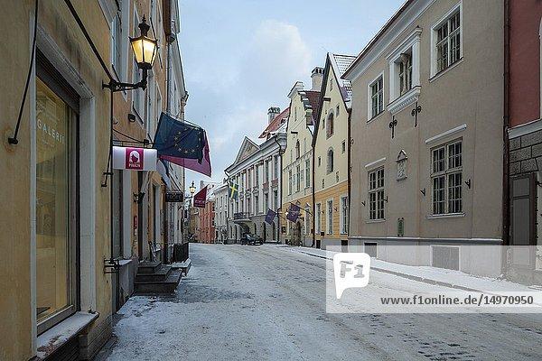 Winter evening in Tallinn old town  Estonia.