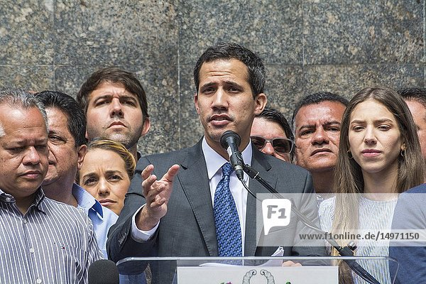 Interim President of Venezuela  Juan Guaidó  accompanied by his wife and deputies of the National Assembly in the press conference held in the Plaza Bolívar de Chacao. Caracas. Venezuela.