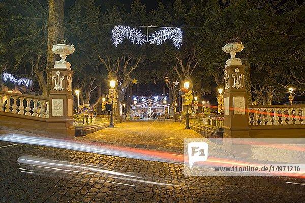 Icod de los Vinos by night Tenerife Canary islands Spain on January 3  2019.