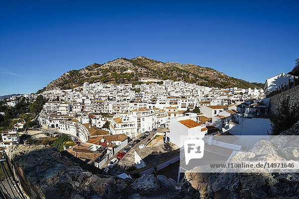 Panoramic view  typical white village of Mijas Pueblo. Costa del Sol Malaga province. Andalusia  southern Spain. Europe.