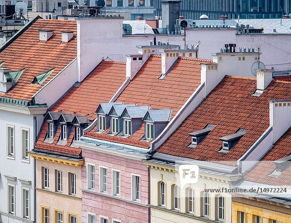 Roofs of houses in Warsaw  Poland.