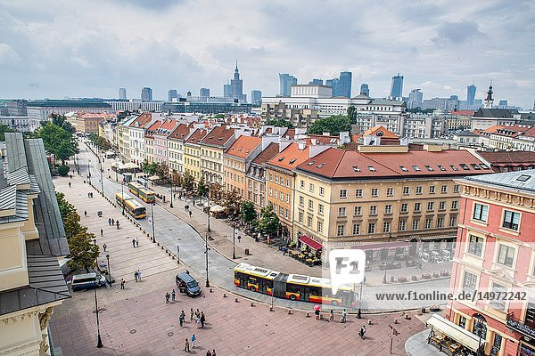 Birds eye view of old town and Warsaw city scape in Warsaw  Poland.