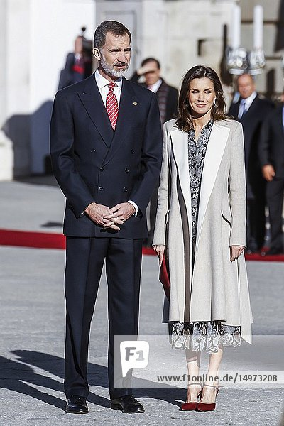 King Felipe and Queen Letizia attends the Official Reception to President of Peru Martín Vizcarra and wife Maribel Díaz Cabello at the Royal Palace in Madrid  Spain on the 27th of February of 2019..27/02/2019.