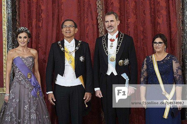 King Felipe VI of Spain  Queen Letizia of Spain  Martin Alberto Vizcarra Cornejo  President of Peru  Maribel Diaz Cabello attends a gala Dinner honouring President of Peru and wife at Royal Palace on February 27  2019 in Madrid  Spain