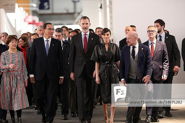 The President of Peru Vizcarra(L)  The King Felipe VI(C) and the Queen Letizia seen walking through different stand of the art fair ARCO 2019