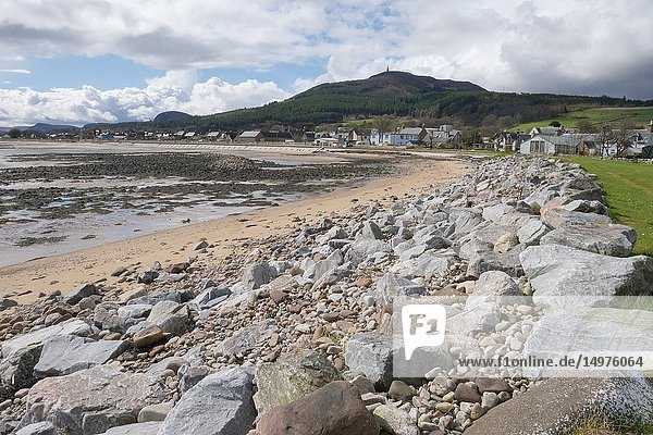 General view of the seafront of the coastal town of Golspie in Sutherland Scotland UK.