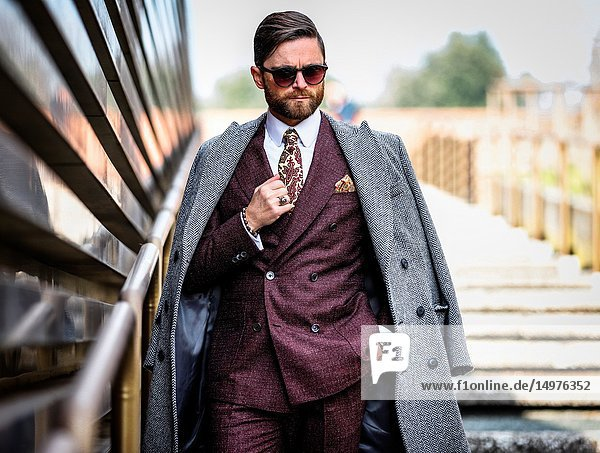 FLORENCE  Italy- January 9 2019: Niccolo' Cesari on the street during the Pitti 95.