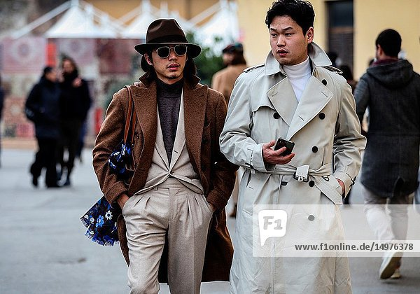 FLORENCE  Italy- January 9 2019: Men on the street during the Pitti 95.