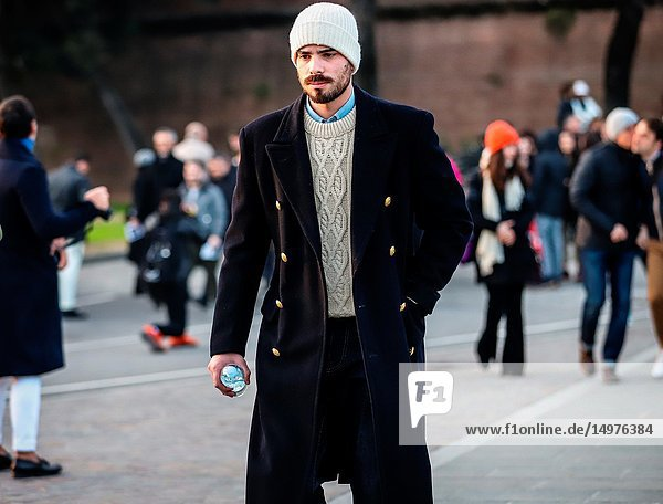 FLORENCE,  Italy- January 9 2019: Men on the street during the Pitti 95.