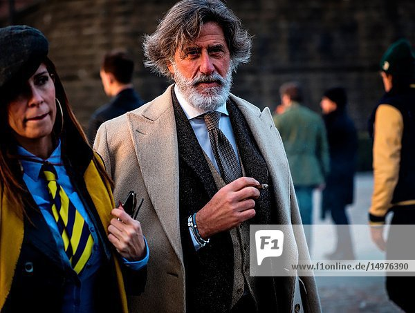 FLORENCE  Italy- January 9 2019: Franco Mazzetti on the street during the Pitti 95.
