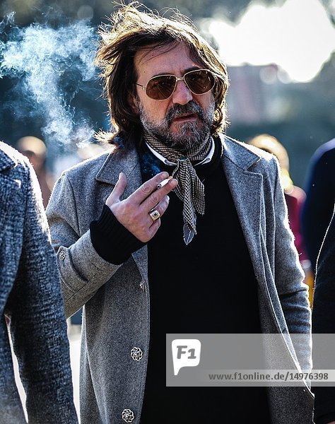 FLORENCE  Italy- January 10 2019: Men on the street during the Pitti 95.