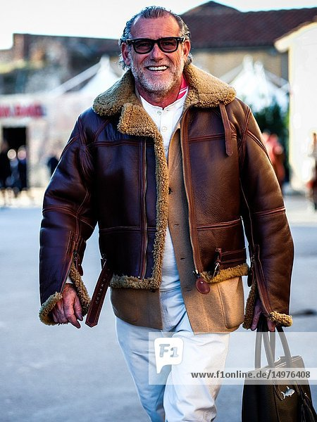 FLORENCE  Italy- January 10 2019: Alessandro Squarzi on the street during the Pitti 95.