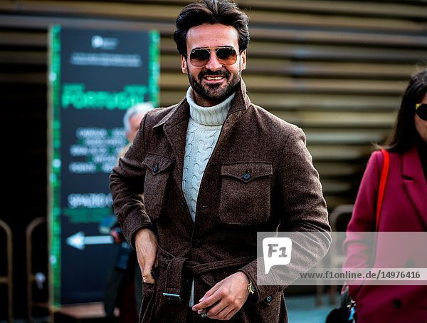 FLORENCE  Italy- January 10 2019: Giorgio Giangiulio on the street during the Pitti 95.