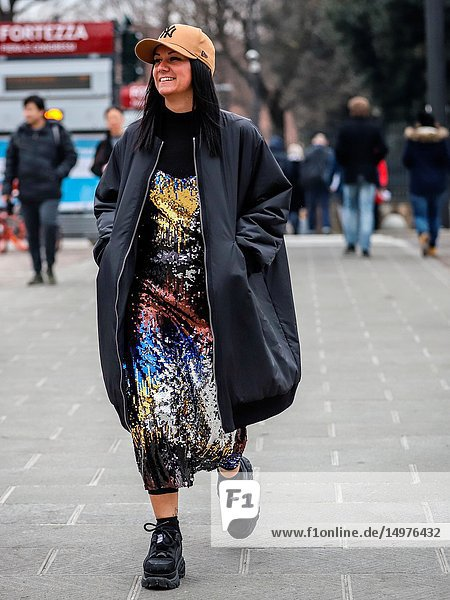 FLORENCE  Italy- January 8 2019: Women on the street during the Pitti 95.