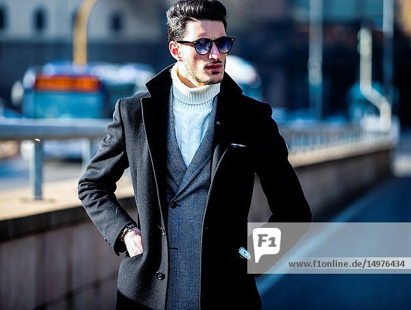 FLORENCE,  Italy- January 11 2019: Nicola Cappiello on the street during the Pitti 95.