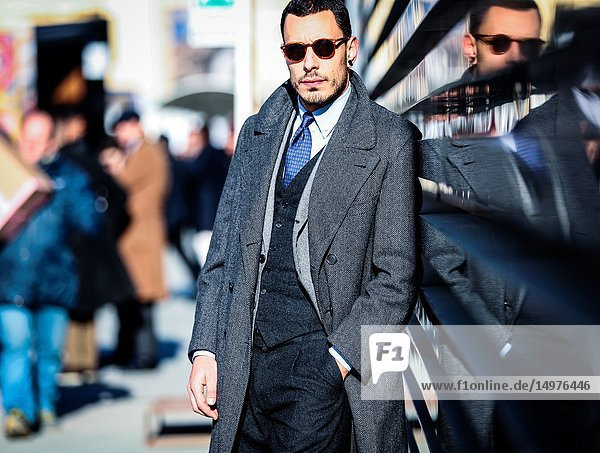 FLORENCE  Italy- January 11 2019: Men on the street during the Pitti 95.